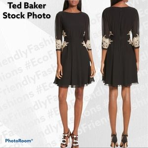 TED BAKER Gaenor Embroidered Fit & Flare Dress